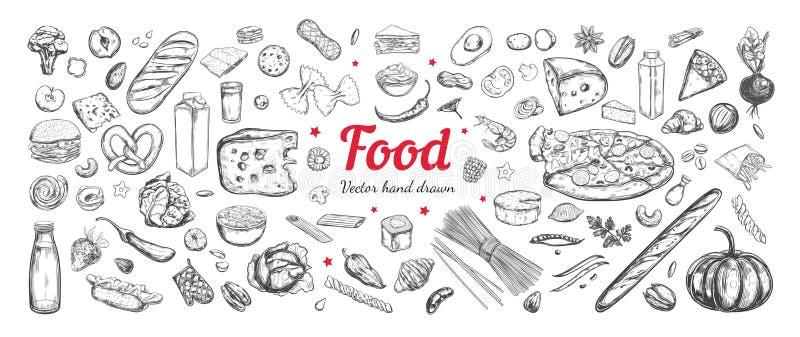 Sistema grande del vector de ingredientes alimentarios sanos ilustración del vector