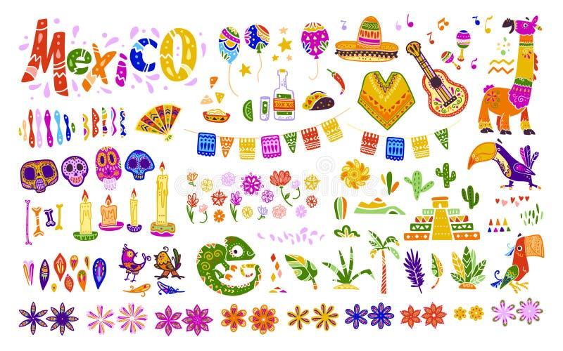 Sistema grande del vector de los elementos, de los símbolos y de los animales de México en estilo dibujado mano plana aislados en stock de ilustración