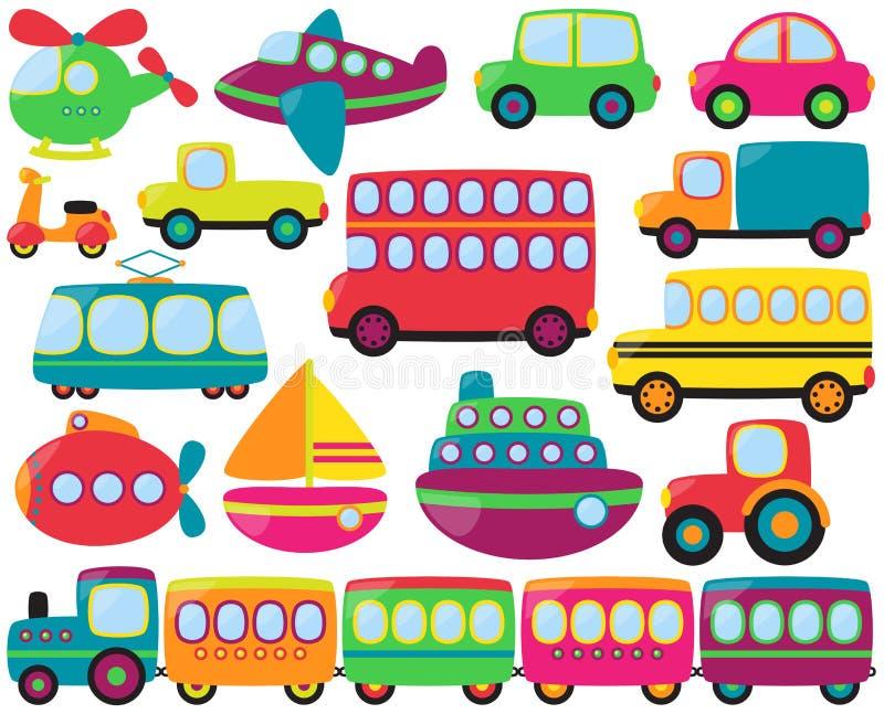 Sistema grande del vector de vehículos lindos del transporte ilustración del vector