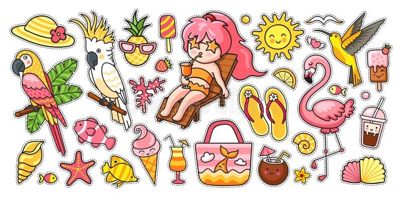 Sistema grande del verano Pájaros tropicales, loros, flamenco, colibrí, muchacha, silla de cubierta, bolso, pescado, sombrero de  libre illustration