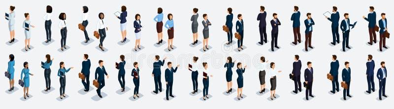 Sistema grande isométrico de hombres de negocios y de la mujer de negocios, vista delantera y vista posterior, ejemplo del vector ilustración del vector