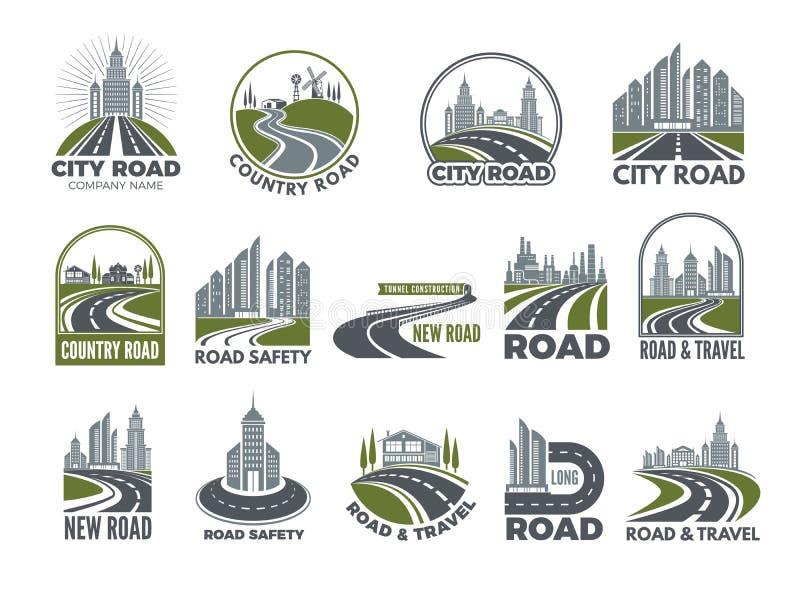 Sistema grande monocromático de la plantilla de los logotipos con las carreteras de asfalto, la autopista o la carretera ilustración del vector