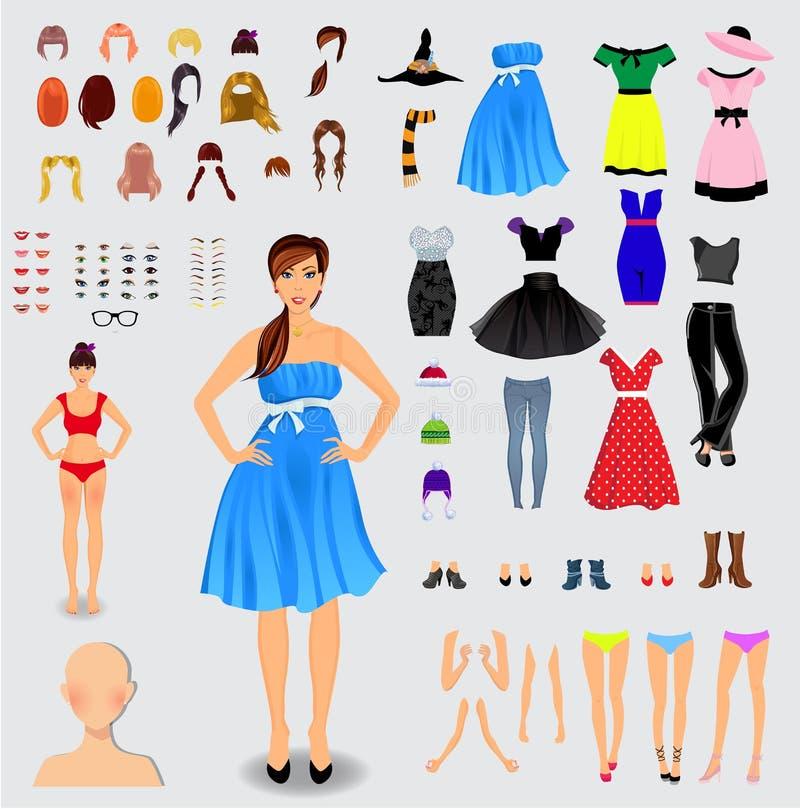 Sistema grande para el carácter único de la muchacha de la creación libre illustration