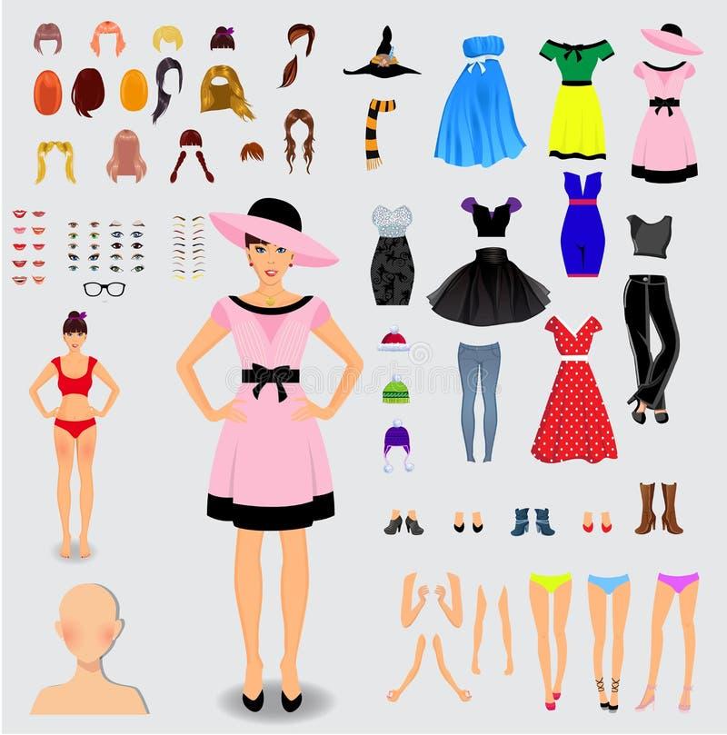 Sistema grande para el carácter femenino único de la creación libre illustration