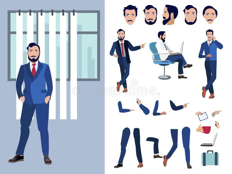Sistema grande para la animación de un carácter del hombre de negocios en un fondo blanco Visión recta, lateral, plano de la part libre illustration