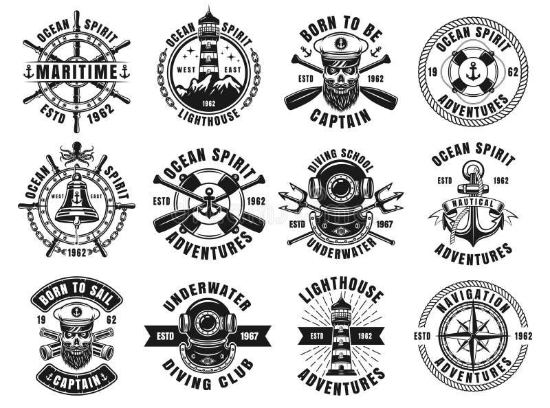 Sistema grande temático náutico de emblemas retros del vector ilustración del vector