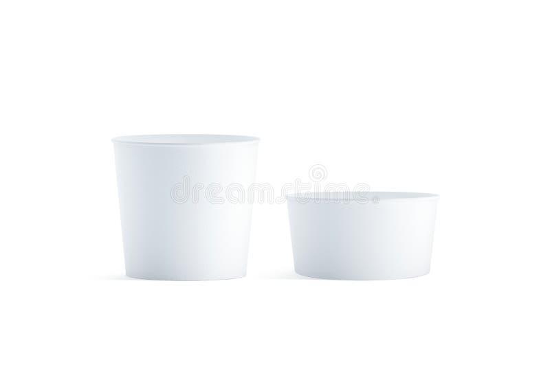 Sistema grande y pequeño blanco en blanco de la maqueta del cubo de la comida, aislado imagen de archivo libre de regalías