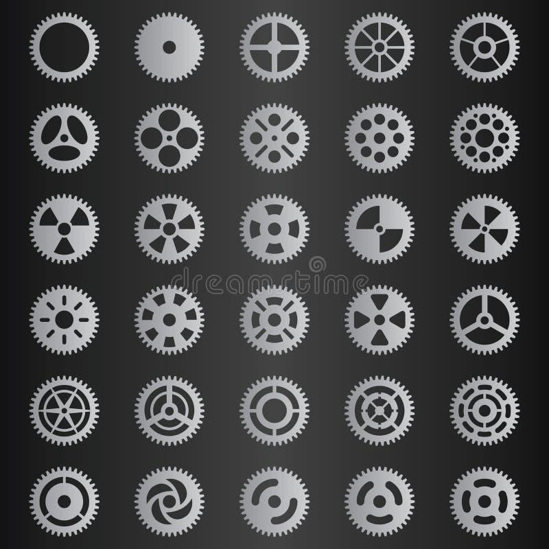 Sistema gris claro de la colección del engranaje libre illustration