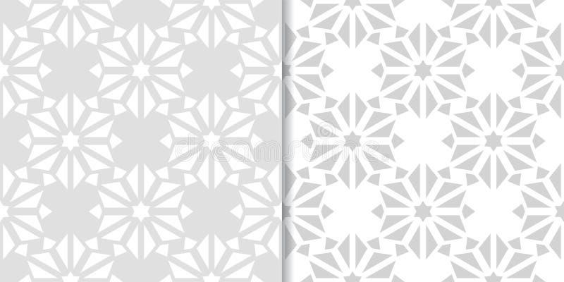 Sistema gris claro de modelos inconsútiles florales stock de ilustración