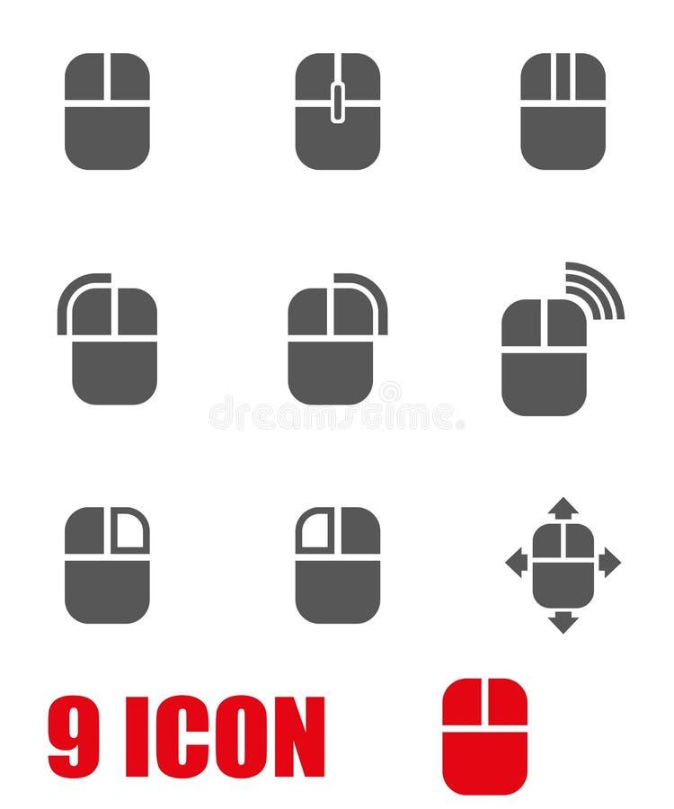 Sistema gris del icono del ratón del ordenador del vector stock de ilustración