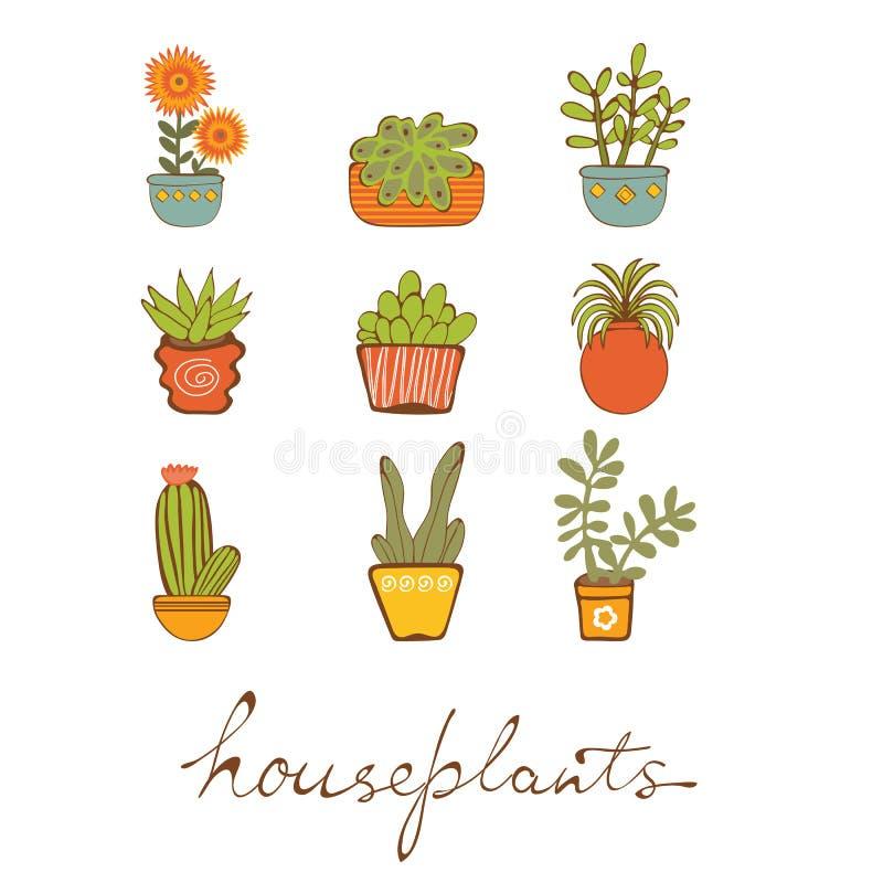 Sistema hermoso de houseplants dibujados mano stock de ilustración