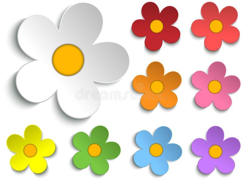 Sistema hermoso de la colección de las flores de la primavera de 9 ilustración del vector