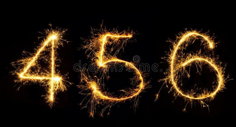 Sistema hermoso de los números 4,5,6 de los fuegos artificiales cerca para arriba fotos de archivo