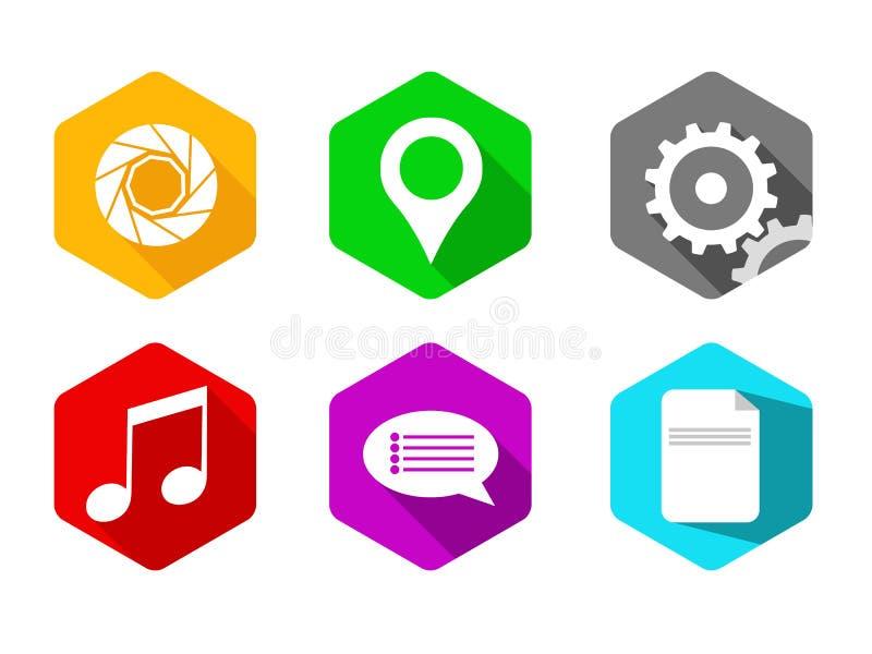 Sistema hexagonal del icono fotos de archivo