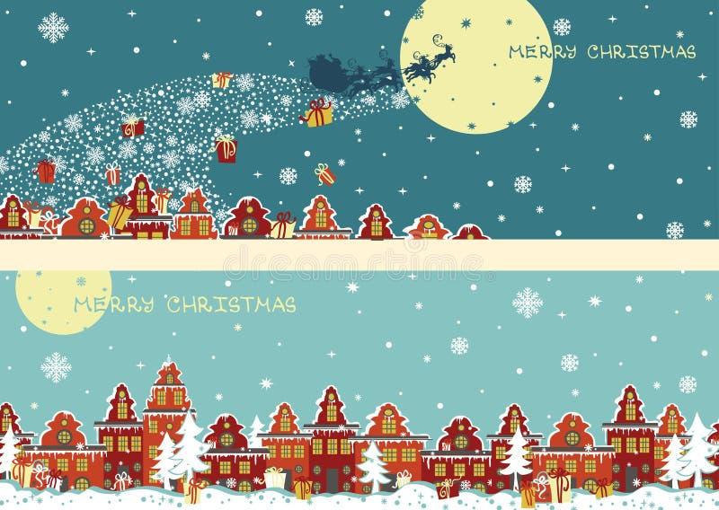 Sistema horizontal de la bandera de la Navidad El venir de Santa Claus libre illustration