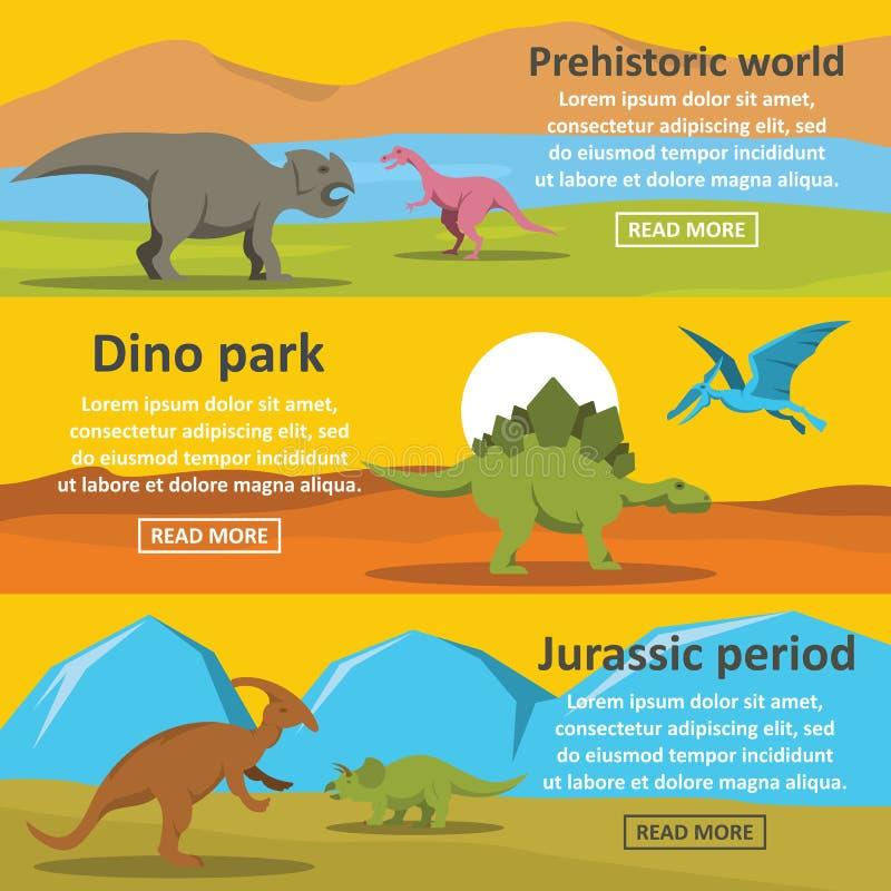 Sistema horizontal de la bandera del parque del dinosaurio, estilo plano stock de ilustración