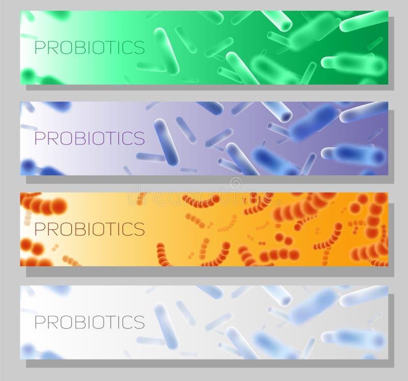 Sistema horizontal de la plantilla de la bandera de la web del vector de Probiotics ilustración del vector
