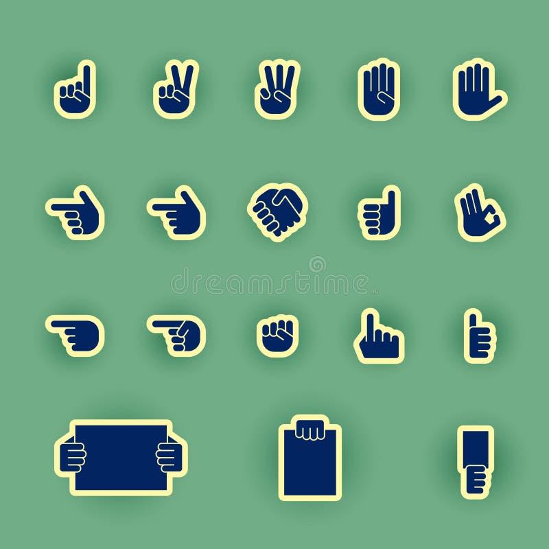 Sistema humano del icono de la mano aislado en verde ilustración del vector