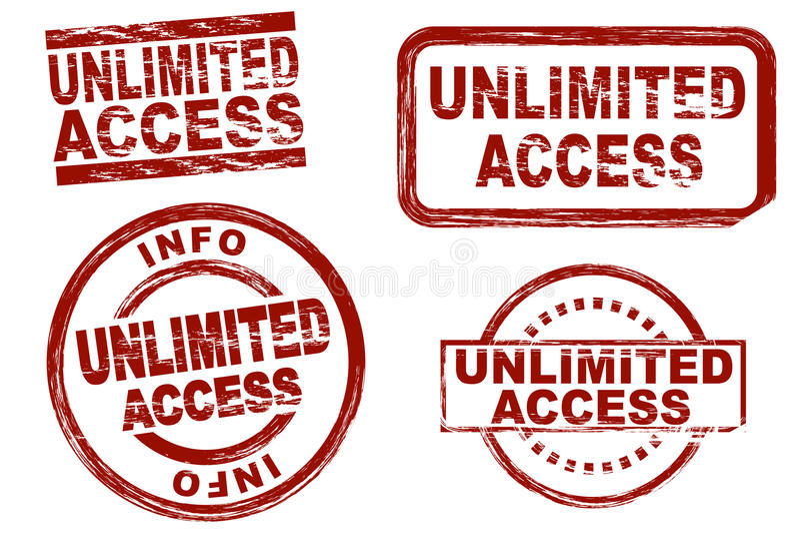 Sistema ilimitado del sello de la tinta del acceso stock de ilustración