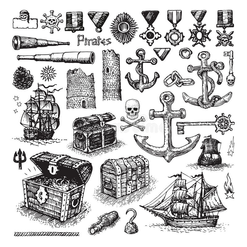 Sistema ilustrado de iconos del pirata libre illustration