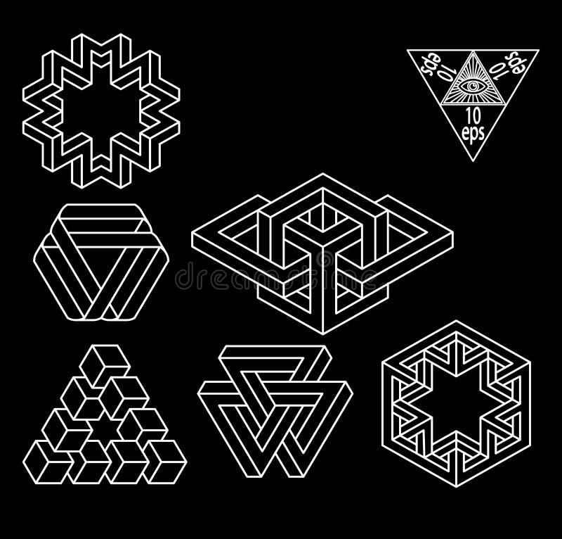 Sistema imposible del vector de los símbolos de la geometría stock de ilustración