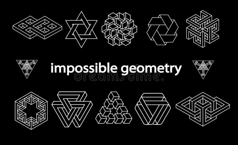 Sistema imposible del vector de los símbolos de la geometría ilustración del vector