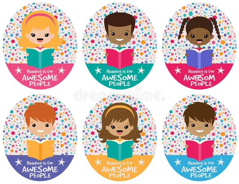 Sistema impresionante del gráfico de los niños de la lectura del vector libre illustration