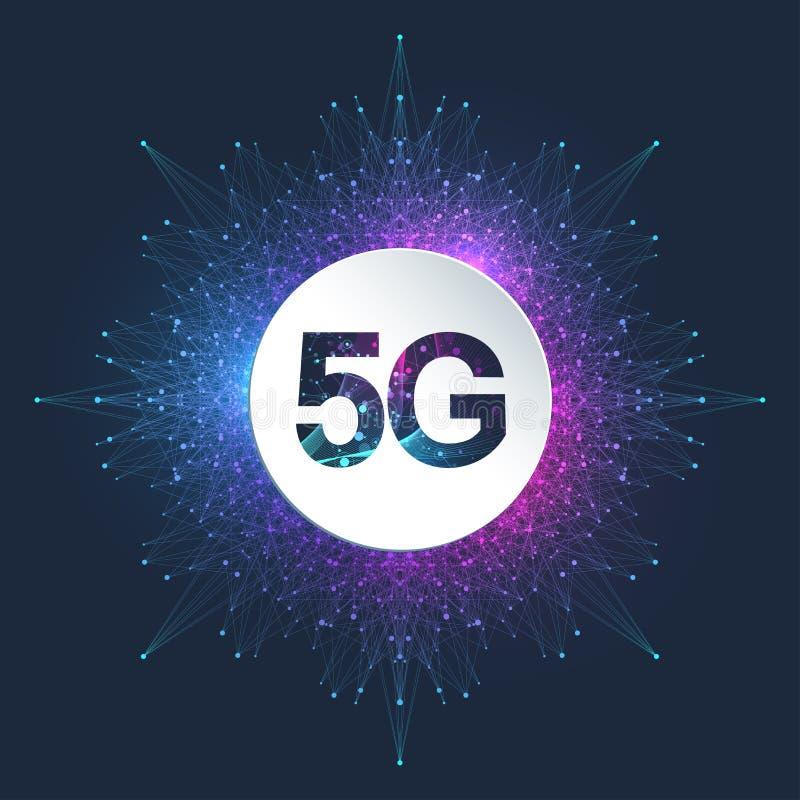 sistema inalámbrico de red 5G y fondo de la conexión a internet red de comunicaciones del símbolo 5G Tecnología del negocio stock de ilustración