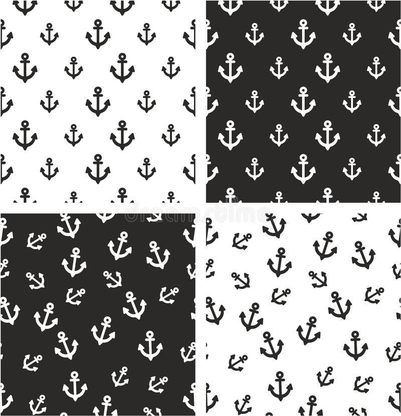 Sistema inconsútil alineado y al azar grande y pequeño del barco o del ancla del tatuaje del modelo stock de ilustración