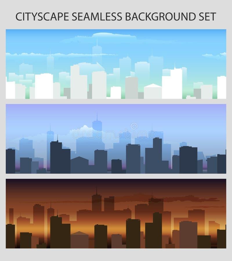 Sistema inconsútil colorido del scape de la ciudad ilustración del vector