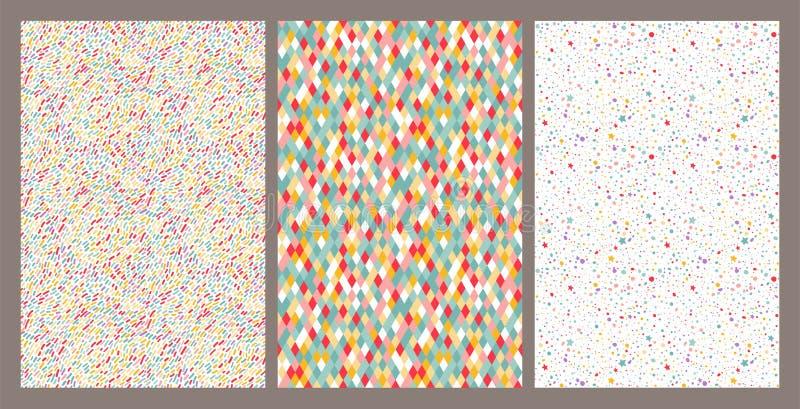 Sistema inconsútil colorido divertido de los modelos Fondo decorativo del carnaval del vector El día de fiesta vivo precioso text stock de ilustración
