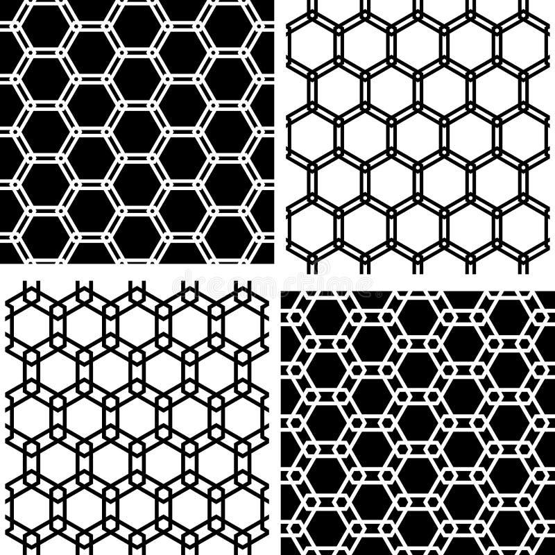 Sistema inconsútil de los modelos de los hexágonos Backgr geométrico blanco y negro stock de ilustración