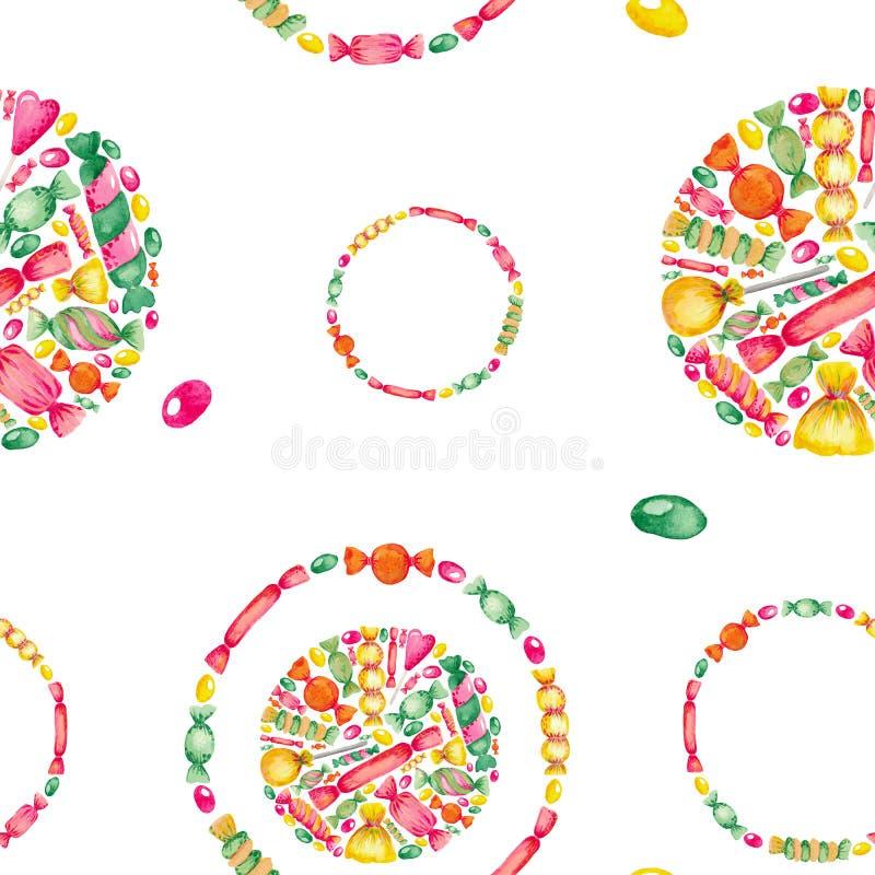 Sistema inconsútil del ejemplo de la acuarela del modelo del caramelo de los dulces pintado a mano Elementos coloreados brillante libre illustration