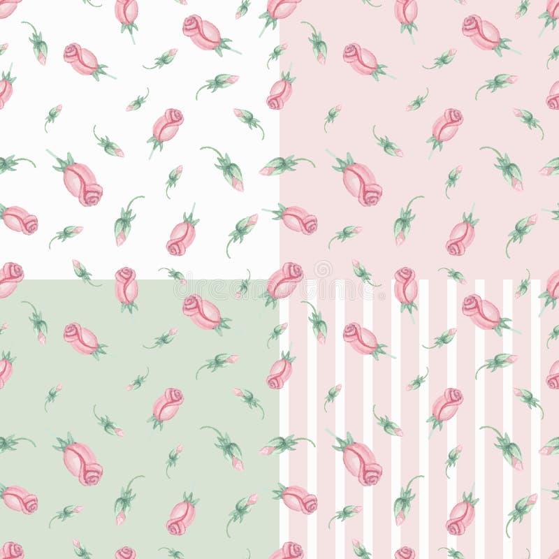 Sistema inconsútil del modelo de los brotes rosados de las rosas de la acuarela stock de ilustración