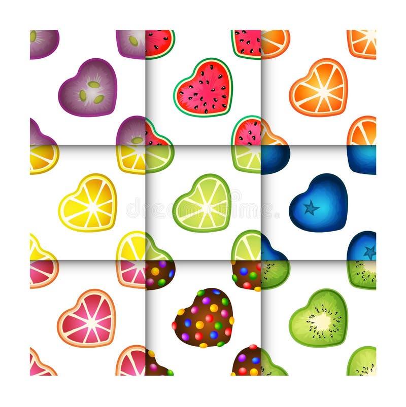 Sistema inconsútil del modelo de los corazones de la fruta stock de ilustración