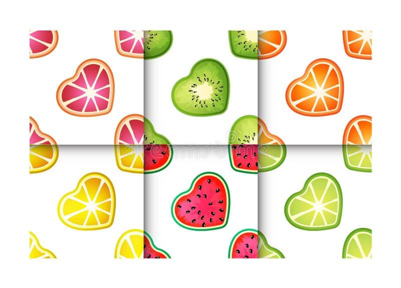 Sistema inconsútil del modelo de los corazones de la fruta libre illustration