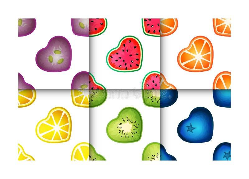 Sistema inconsútil del modelo de los corazones de la fruta ilustración del vector