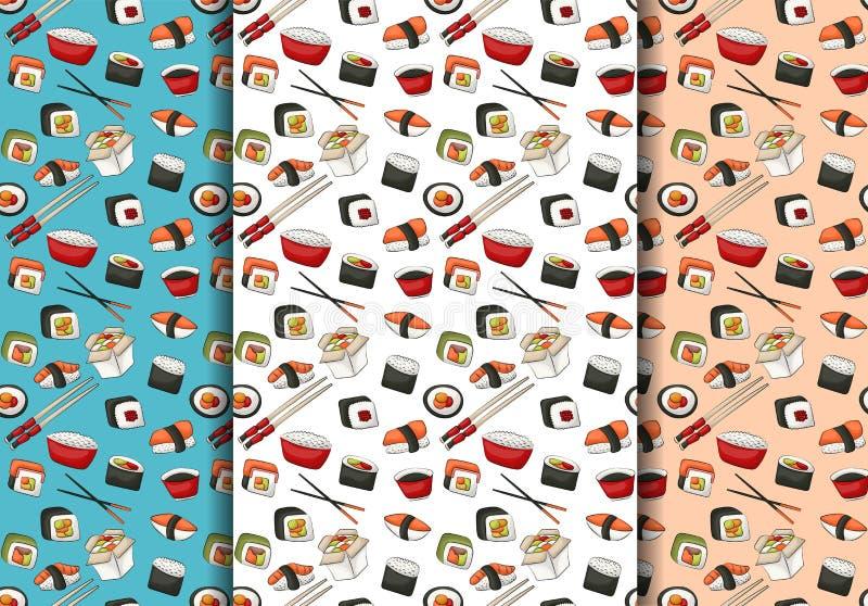 Sistema inconsútil del modelo de los rollos de sushi Concepto asiático del fondo de la repetición del menú del restaurante de la  stock de ilustración