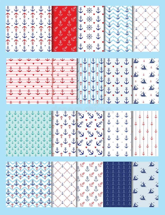 Sistema inconsútil del vector de los modelos del mar, diseño 20 libre illustration