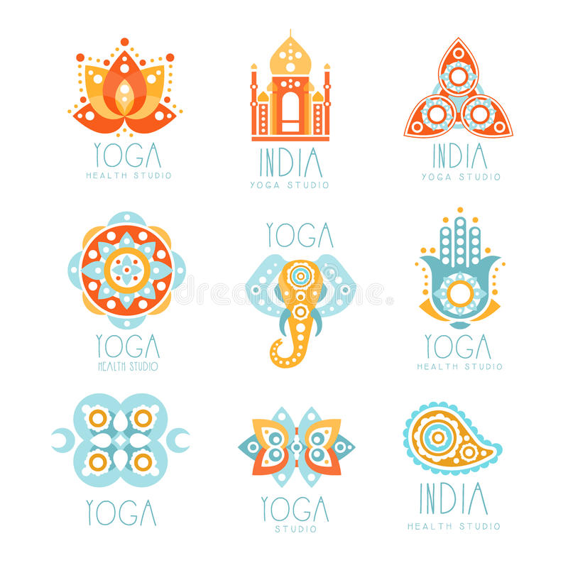 Sistema indio del estudio de la yoga de plantillas coloridas del diseño de la muestra del promo con las mandalas y el indio espir ilustración del vector