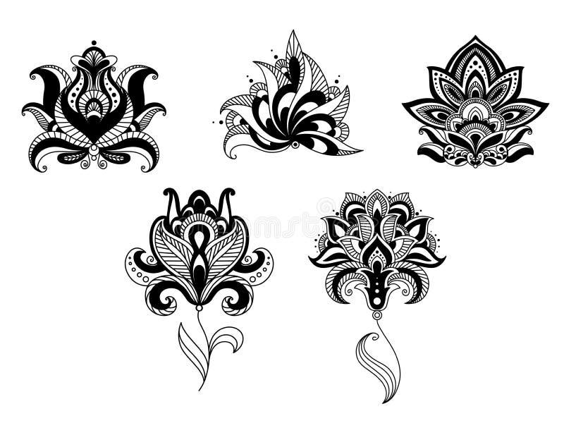 Sistema indio y persa adornado del diseño floral ilustración del vector
