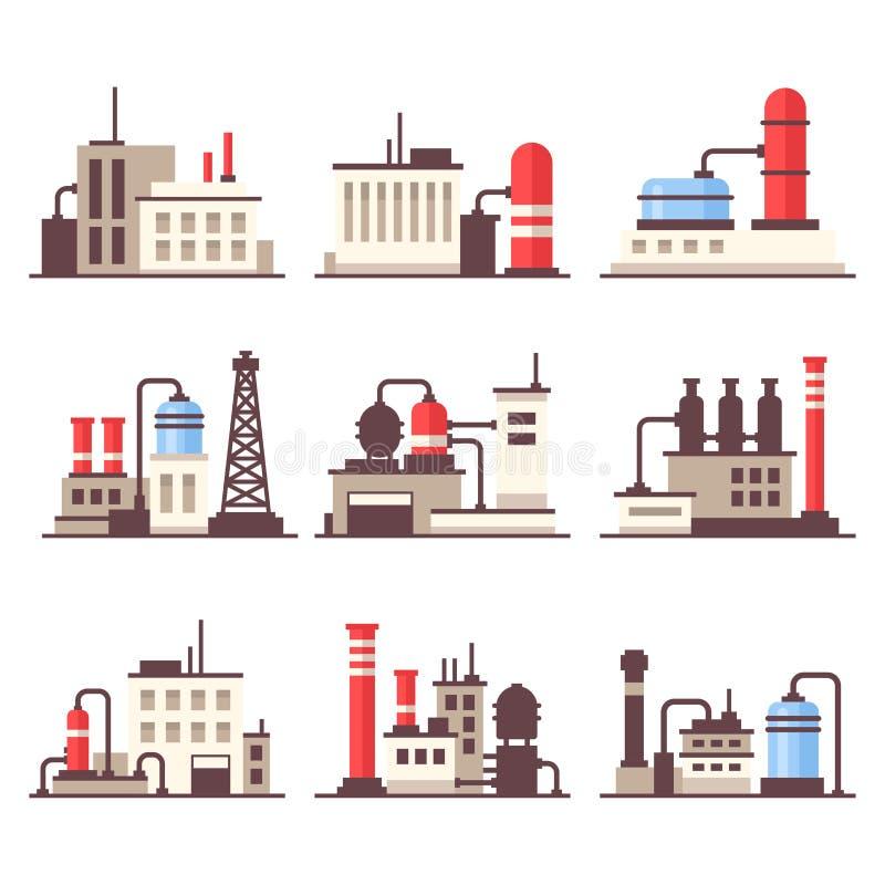 Sistema industrial de los iconos del edificio de la manufactura Vector plano del estilo stock de ilustración