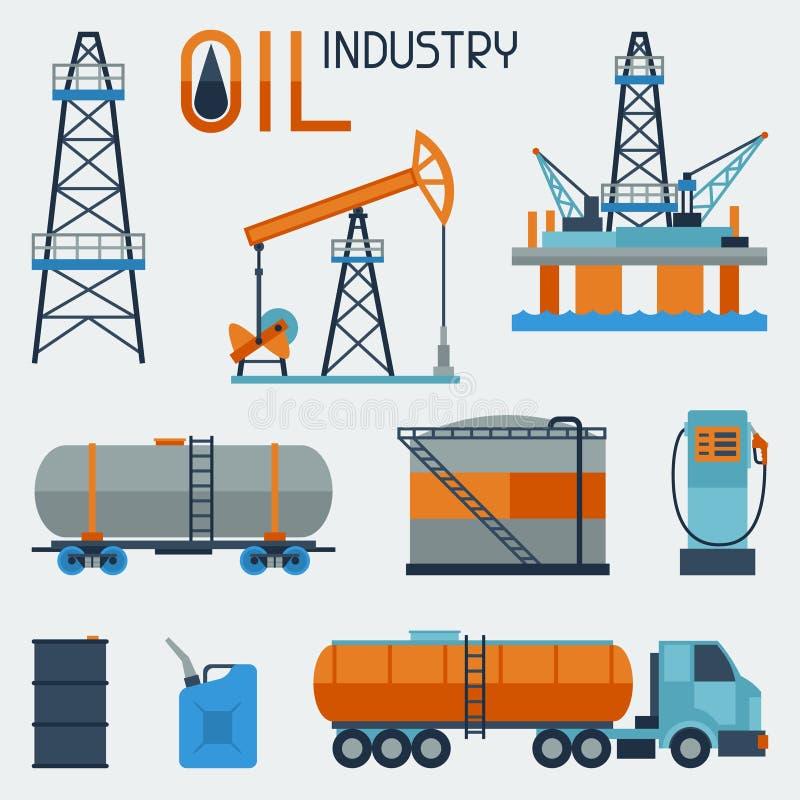 Sistema industrial del icono del aceite y de la gasolina ilustración del vector