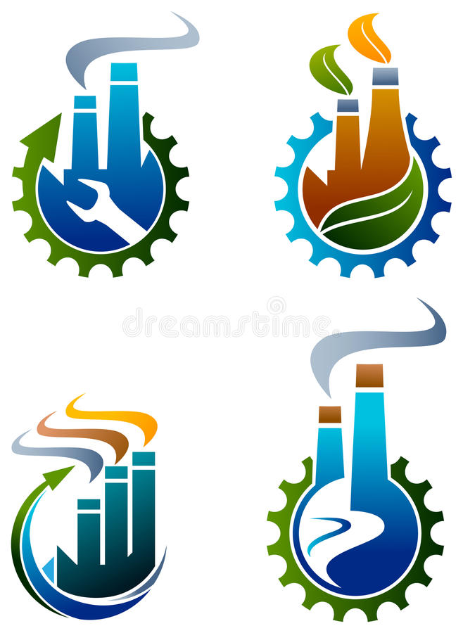 Sistema industrial del logotipo stock de ilustración