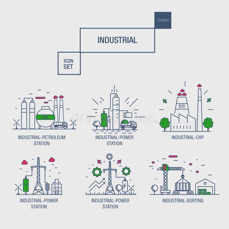 Sistema industrial grande del icono con los elementos gas, aceituna del diseño, limpia, ilustración del vector