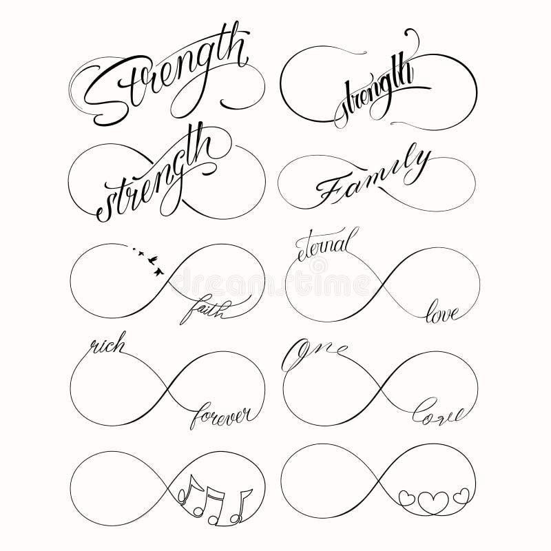 Sistema infinito popular del tatuaje stock de ilustración