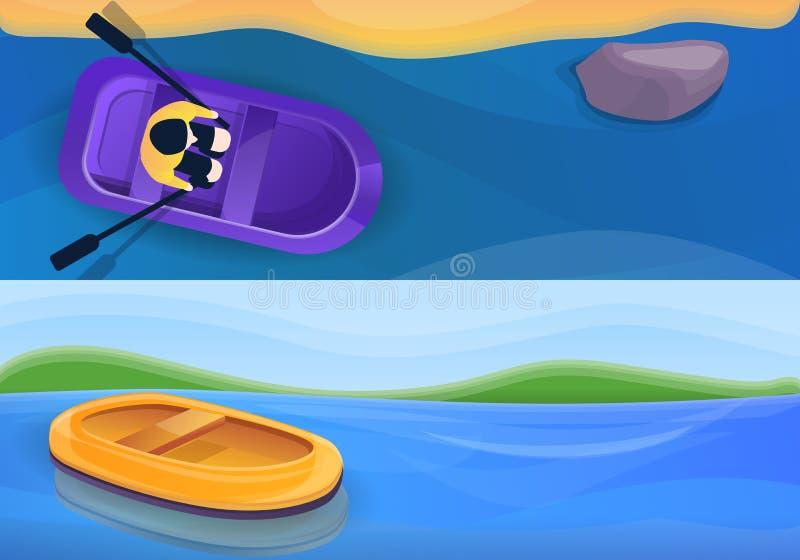 Sistema inflable de goma de la bandera del barco, estilo de la historieta ilustración del vector
