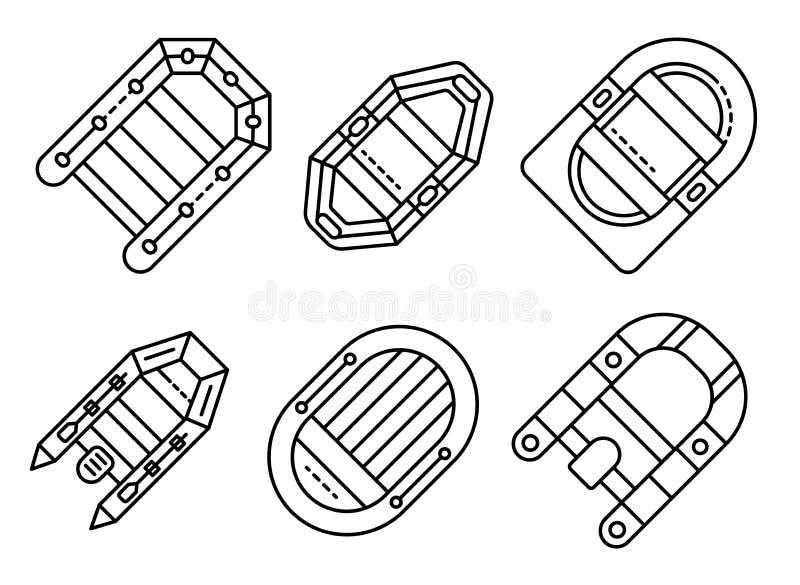 Sistema inflable de los iconos del barco, estilo del esquema libre illustration