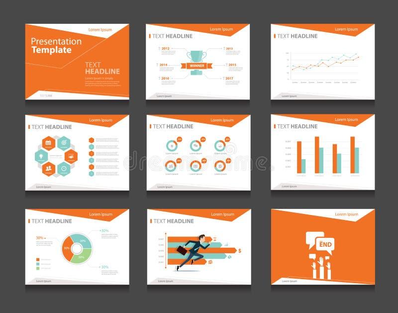 Sistema infographic anaranjado de la plantilla de la presentación del negocio fondos del diseño de la plantilla de PowerPoint stock de ilustración