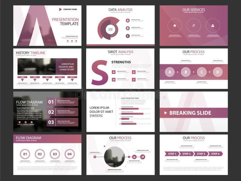 Sistema infographic de la plantilla de los elementos de la presentación del negocio, diseño horizontal corporativo del folleto de ilustración del vector